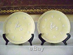 Pair Of Wedgwood Primrose Yellow Jasperware 8 Plates White Prunus Blossoms