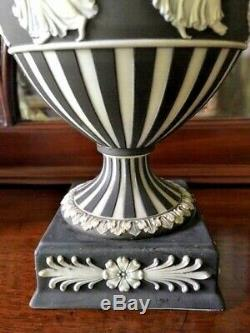 Pair WEDGWOOD Dancing Hours JASPERWARE URNS Pre-1891 Cream on Black