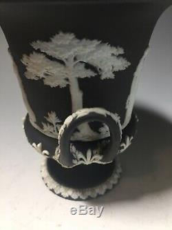 Pair of Petite Wedgwood Jasperware Twin Handled Black Classical Covered Urns