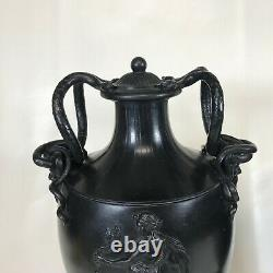 Pair of Similar 18th Century 14 Black Basalt Wedgwood & Bentley Urns