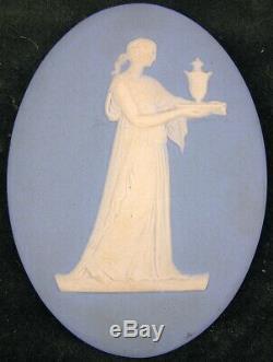 Pair of Vintage Framed Wedgwood White on Blue Jasperware Oval Plaques Medallions