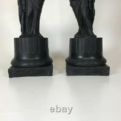 Pair of Wedgwood Black Basalt Figural Candlestick Pomona and Ceres