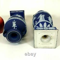 Pair of Wedgwood Dark Blue Jasperware Urns