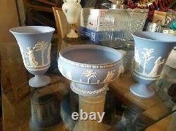 Pair of Wedgwood Jasper Ware Arcadian Vases and a Sacrifice / Imperial Bowl
