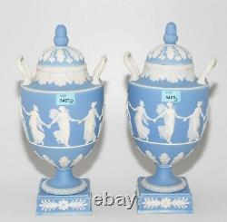 Pair19thC-Wedgwood Pale Blue Jasperware 11 Vases Urns withLid Dancing Hours NICE