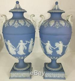 Pr 11 Wedgwood Blue Jasperware Lidded Urns Vases Dancing Hours Pottery England