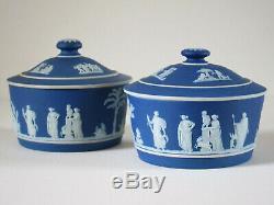 Pr. Antique Wedgwood Cobalt Blue Dip Jasperware Covered 5 Pots c. 1900