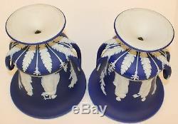 Pr. Large Antique Wedgwood Dark Blue Jasperware Urns Excellent
