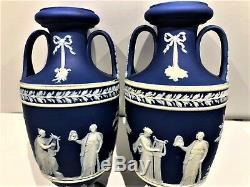 RARE 6 C. 1891 Wedgwood JASPER WARE PORTLAND BLUE Trophy Vase Pair MINT