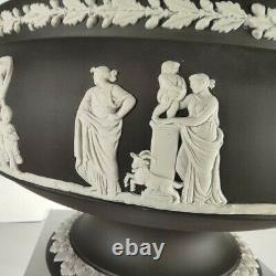 RARE Black and White Basalt Wedgwood Jasperware Urn or Centerpiece Bowl