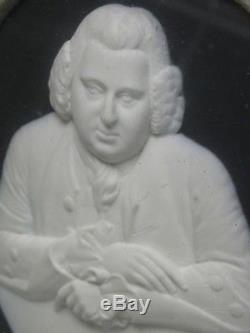 RARE FRAMED ANTIQUE 18 c. WEDGWOOD JASPERWARE ERASMUS DARWIN PORTRAIT MEDALLION