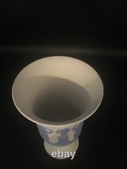 RARE Large Wedgwood Reverse Blue And White Trumpet Vase 7 1/2 H