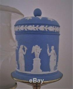 RARE Pair Antique Argand Lamps Blue Wedgwood Jasperware & Brass Wedding Motif