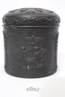 RARE Vintage WEDGWOOD Basalt Black Jasperware 3 HAIR RECEIVER Jar withLid England
