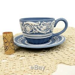 RARE Vintage Wedgwood Blue Jasper Ware Arabesque Cup & Saucer 250 Anniversary