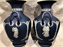 RARE Vintage Wedgwood Cobalt Blue Jasper Ware Vases (1533) (c. 1891) 9H NICE
