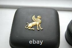 RARE Vintage Wedgwood Egyptian 1978 Black Jasperware Basalt box gold 24K Sphinx
