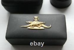 RARE Vintage Wedgwood Egyptian 1978 Jasperware Basalt box gold 24K crocodiles