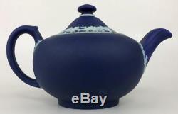 RARE WEDGWOOD Dk Blue Jasperware DOMINION OF CANADA Tea Set Sugar Creamer Teapot