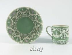 RARE WEDGWOOD JASPER WARE TRI COLOUR CUP & SAUCER c. 1850 MUSEUM QUALITY