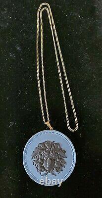 RARE Wedgwood Black, Lavender Medusa Jasperware Medallion Necklace 2 1/2W