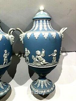 RARE Wedgwood Blue Jasperware URNS MUSIC LESSONS 7.75 Urn C. 1891 EXT NICE