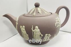 RARE Wedgwood Jasper Lilac 4pc Set Teapot, Sugar Bowl, Creamer, 2Handle Bud Vase