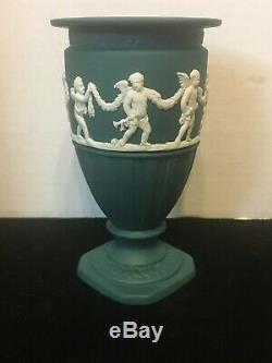RARE Wedgwood Spruce Green TEAL Jasperware Footed Urn Vase with Cherubs 4 3/4T