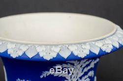 Rare 1867 Wedgwood Dark Blue Jasperware Campana Vase with WHITE Handles