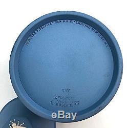 Rare 1950s Wedgwood Jasperware Blue Cream Covered Honeypot England