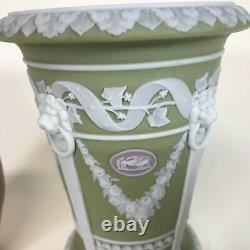 Rare 19th Century Wedgwood Tri Color Monopodia Vase Green White Lilac Cameo