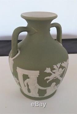 Rare Antique 19th Cent. Green Dip Jasperware Wedgwood Portland Vase