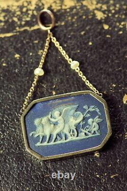 Rare Antique English Early Wedgwood Jasperware 9k Gold Pendant Cupid & Venus