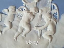 Rare Antique Large Wedgwood Blue & White Cherub Jasperware Plaque