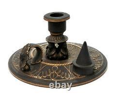 Rare Antique Wedgwood Black Basalt & Gilt QE1 Design Chamberstick Candlestick