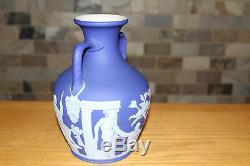 Rare Antique Wedgwood Dark Blue Jasperware 8 Large Portland Vase (c. 1840)