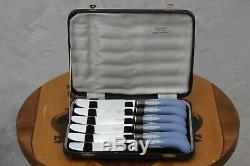 Rare Antique Wedgwood Jasper Ware Mapping & Web Boxed Pastry Knife Set (c. 1930s)
