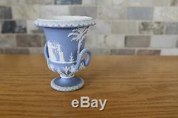 Rare Antique Wedgwood Light Blue Jasper Ware 4 Campana handled Urn (c. 1880)