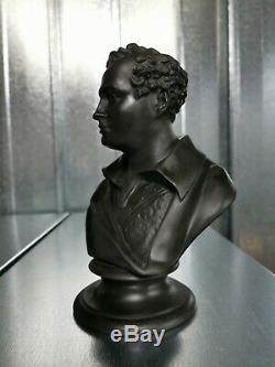Rare Antique Wedgwood black basalt bust of Lord Byron c1890 Jasper ware figure