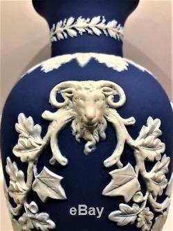 Rare C. 1840 Wedgwood Adams Cobalt Blue Jasperware 10.50 Footed Vase