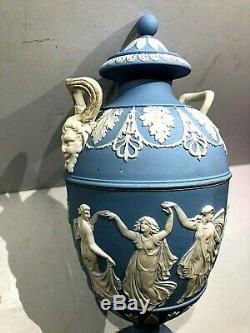 Rare C. 1864 Wedgwood Jasperware Blue Urn Campana Pedestal MINT AAS