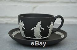 Rare England Wedgwood Jasperware Black Cup and Saucer Decor Dancing Hours