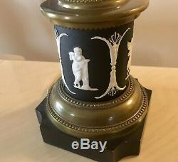 Rare Pair 1920s era Wedgwood Lamps withblack Jasperware WithCut Glass Center & Drops