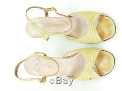 Rare Pair of Rayne Yellow Leather Ladies Shoes with Wedgwood Jasperware Heel 198
