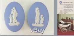 Rare Pair of Wedgwood Blue Jasperware Oval Pram Plaques- Silvercross