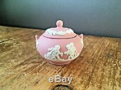 Rare Pink Wedgwood Jasperware Miniature Coffee & Tea Set Cup Saucer Teapot Pot