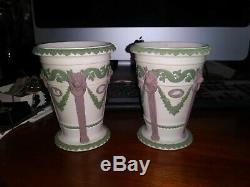 Rare. Pr Wedgwood Tri-Color Lilac Green White Jasperware Monopodia Vase c 1850