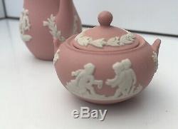 Rare Stunning Trio Pink Jasper Ware Jug Coffee Pot & Lidded Sugar Bowl Miniature