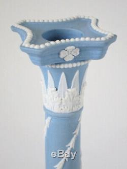 Rare Tall 12-1/4 Wedgwood Blue Jasperware Candlestick Late 1800's