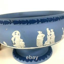 Rare Tri Color Wedgwood Blue Jasperware 8 Round Footed Imperial Bowl / Compote
